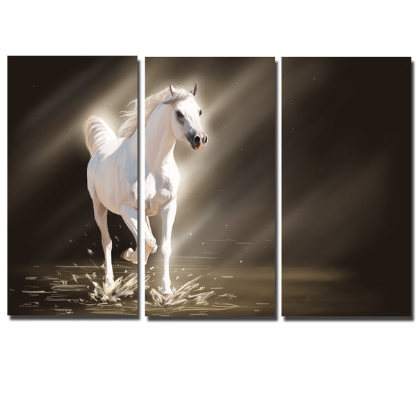 3 Pcs/set Abstract Wall Art Pictures Animal White Horse Picture Printed On Canvas Painting For Living Room Home Decor No Frame