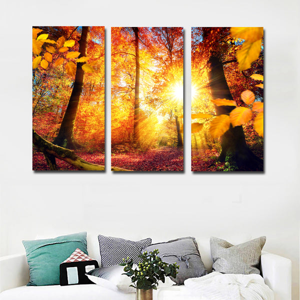 3 Pieces Autumn Red Tree And Hot Sun Picture Canvas Art Painting Print Poster For Home Decoration Living Room Unframed