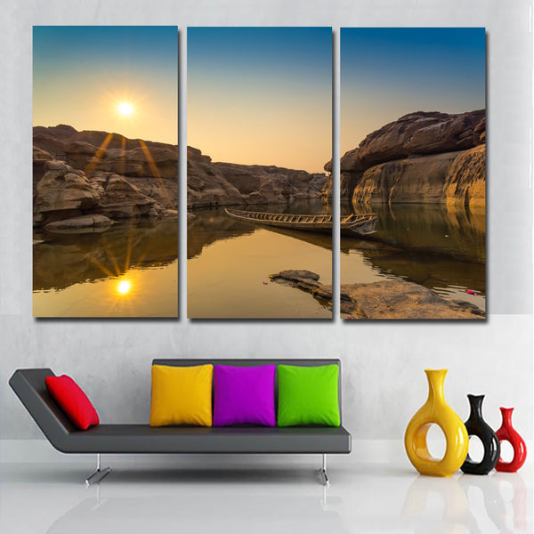 3 Pieces Thailand Parks Sunsets Lake Boat Picture Canvas Art Painting Print Poster For Home Decoration Living Room Unframed