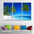 3 Pieces Tropics Palma Beach And Coconut Tree Canvas Art Painting Print Poster Blue Sky Picture For Home Decoration Living Room