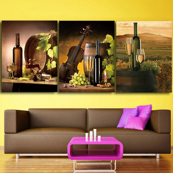 3 panel HD Printed Red Wine Champagne Wine Glass Painting Canvas Print Room decor print poster Picture Canvas