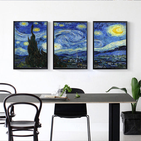 3 panel Combination Paintings star night Mural Vincent Willem van Gogh Printed on canvas painting Home Decor wall art lounge can custom