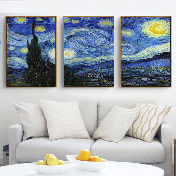3 panel star night Mural Vincent Willem van Gogh Printed on canvas painting Home Decor wall art lounge can custom