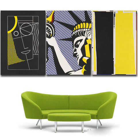3 panels Mondern cartoon Statue of liberty retro canvas Poster painting drawing bar Cultural centers library decoration