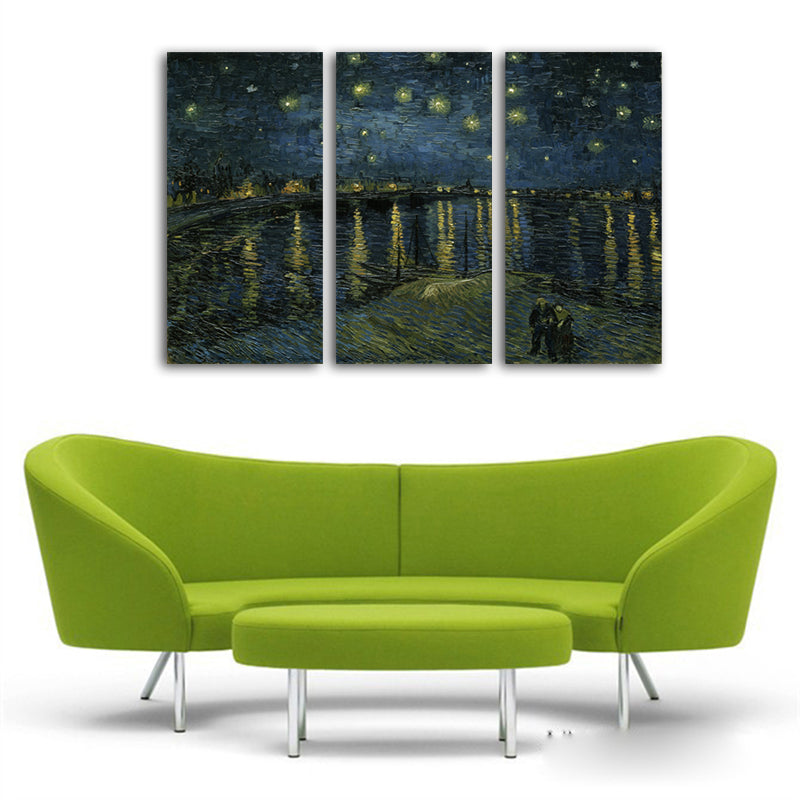3PCS No Frame Starry night By Vincent Van Gogh Wall Painting Printed ...