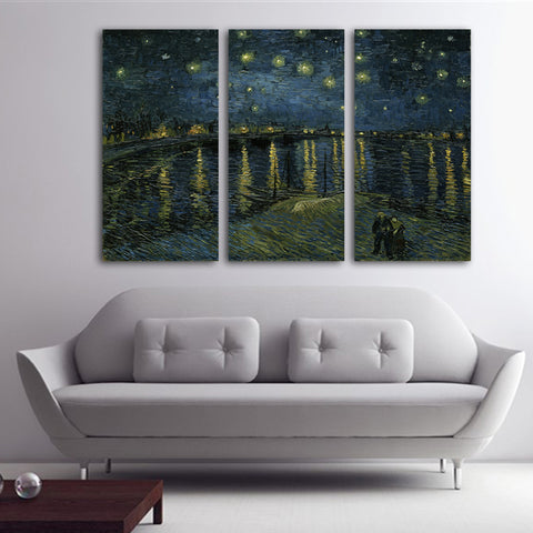 3PCS No Frame Starry night By Vincent Van Gogh Wall Painting Printed on Canvas Abstract Painting Home Decor wall art Livingroom