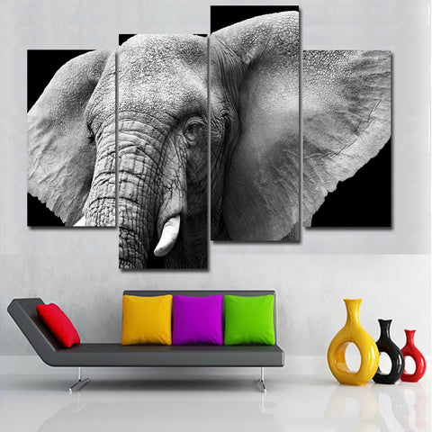 4 panel Elephant Painting Canvas Wall Art Picture Home Decoration Living Room Canvas Print Modern Painting Large Canvas