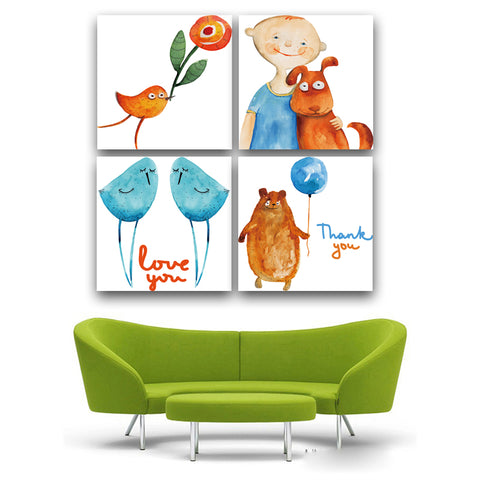 4 piece wall art painting Cartoon animal print canvas poster for painting on the wall Home decorative Frame not include