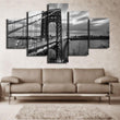 5 Panel Canvas Print Black And White Seascape Painting Bridge Picture Wall Art Canvas Art Home Decor for Living Room No Frame