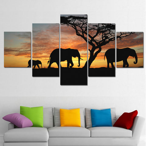 5 Panel Modern Printed African Elephant oil painting canvas image Decoration Wall Art For Living Unframed