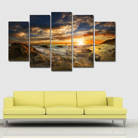 5 Panels Canvas Art Printed on Canvas American Coast Seascape Stone Picture Home Decor for Living Room Canvas Poster And Prints