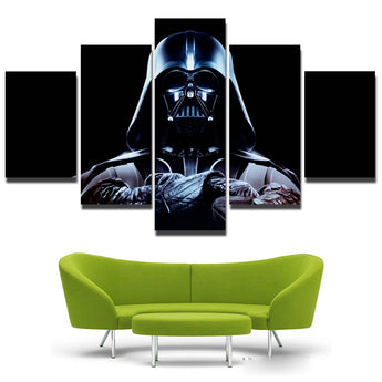 5 Panels Wars Helmet Mask Darth Vader Pop Movie Art Print Poster Abstract Canvas Painting Home Decor Wall Pictures Unframed