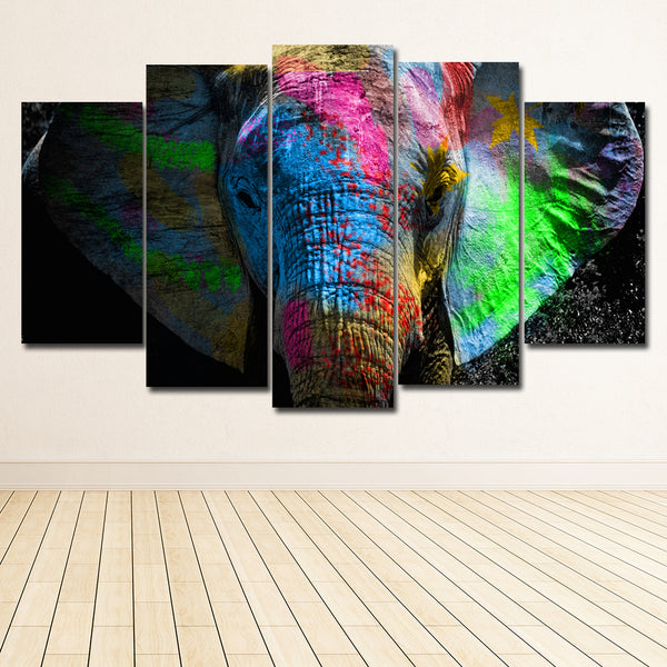 5 panel Colorful Paint Elephant Canvas Painting Wall Art Picture Home Decoration Living Room Canvas Print Modern Painting