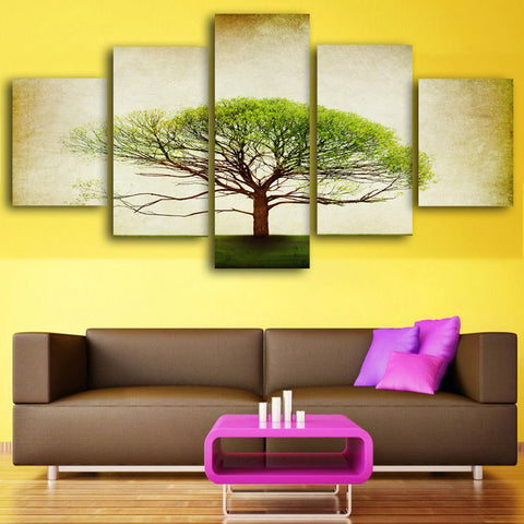 5 panel Printed Vintage tree art scenery landscape modular picture large canvas painting for bedroom living room home wall art
