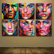 6 Pcs/ Set Francoise Nielly Designer Cool Face 6 faces Art Palette knife Oil painting Printed On canvens for Bedroom Wall Decor