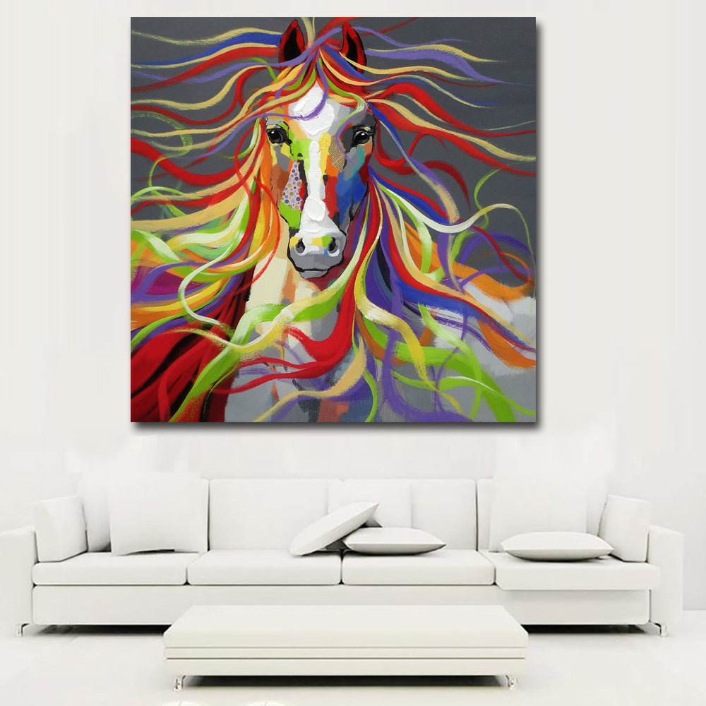 Abstract Animal Art Sexy Colorful Horse Flowing Hairs For