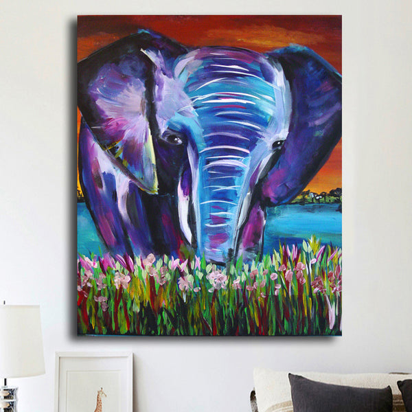 Abstract Animals Canvas Painting Prints Animated Elephant Wall Pictures For Living Room, Home Children Room Decor No Frame