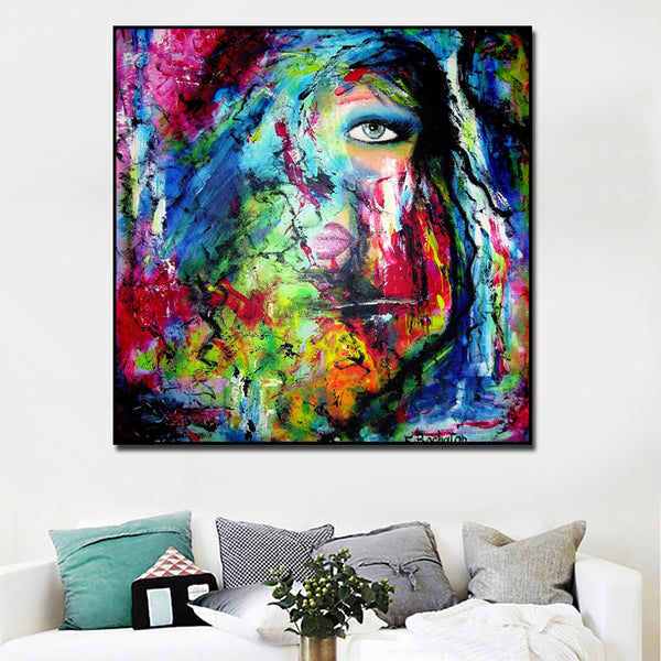 Abstract Art Canvas Paintings Modern Wall Art Poster and Prints Portrait ColorfuLGirl Pictures for Living Room Canvas Art Prints
