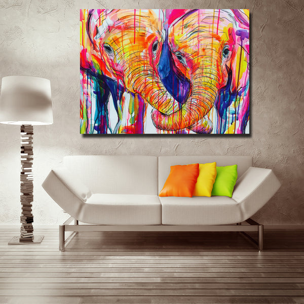 Abstract Art Colorful Elephant Baby Trunks In Love Animal Painting Wall Art Print Poster For Living Room Home Decoration