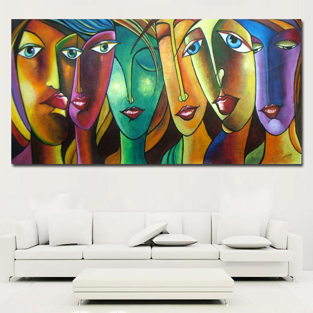 Abstract art colorful girl canvas paintings wall art prints on canvas discount canvas print