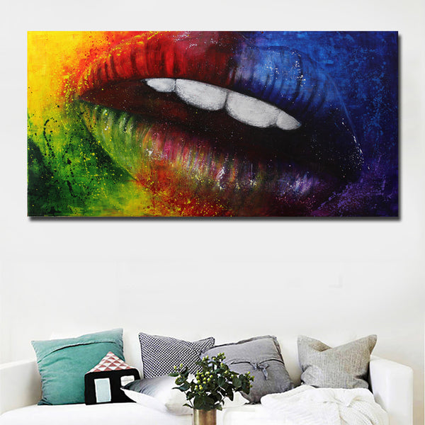 Abstract Art Colorful Sexy Mouth prints Canvas Painting Cuadros Decoration Wall Art Posters Prints Home Decor Wall Pictures