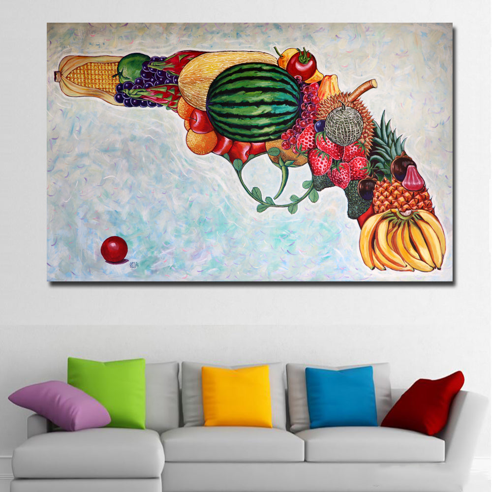 Abstract Art Gun Be Made Of Fruits Canvas Painting Modular Painting Wall  Art Print Poster For Living Room Home Decoration