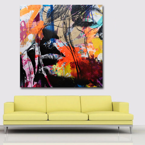 Abstract Art Prints Colorful Faces Portrait Painting Wall Art Canvas Printing Poster and Print for Living Room Decor