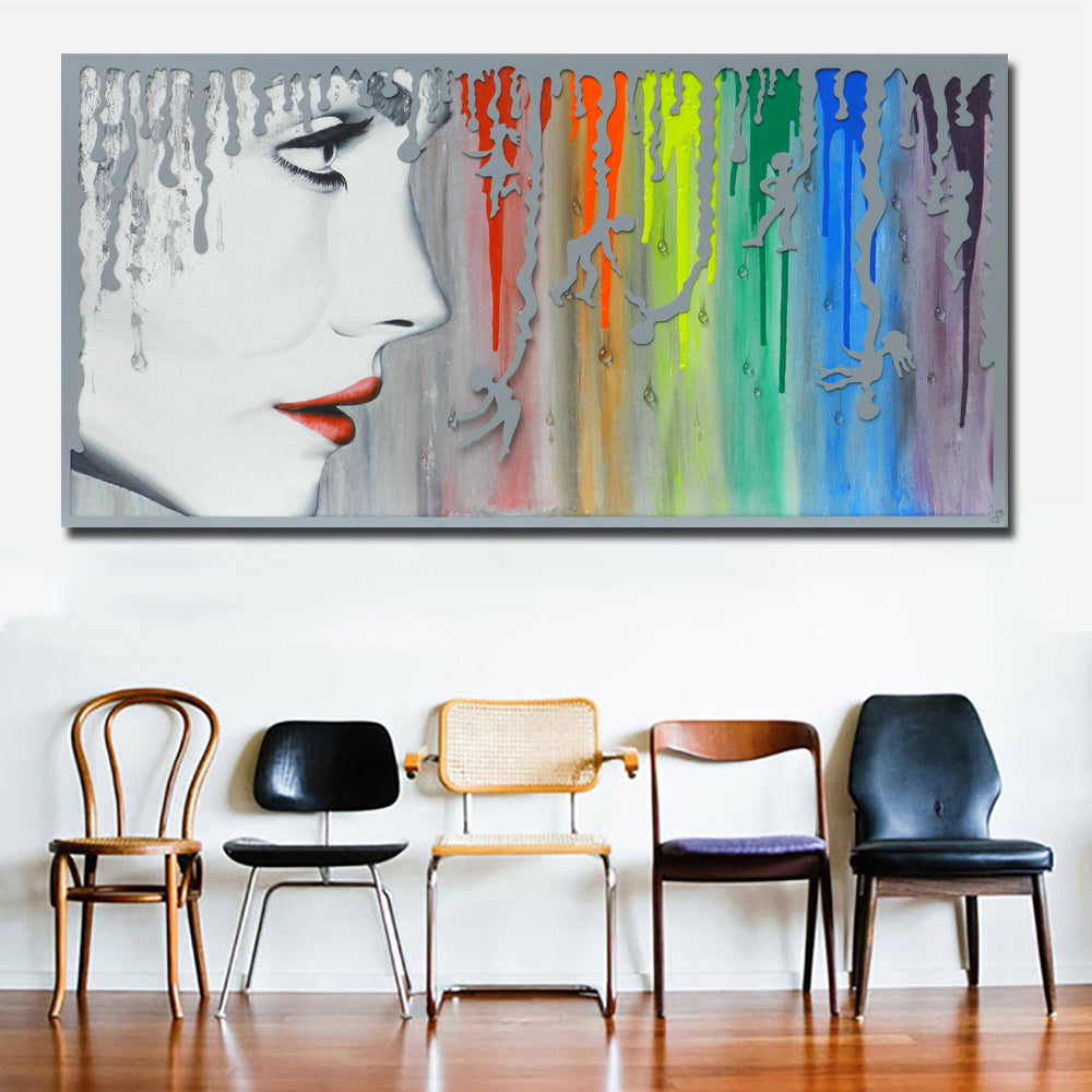 Abstract art sexy girl with rainbow canvas painting wall art prints fo discount canvas print