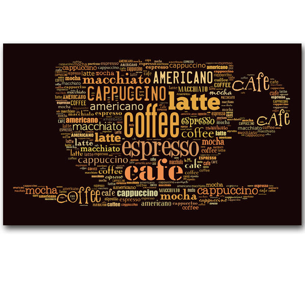Abstract Canvas Painting Fragrant Coffee letter Print Painting On Canvas Wall Art Picture Kitchen Home Decoration Unframed