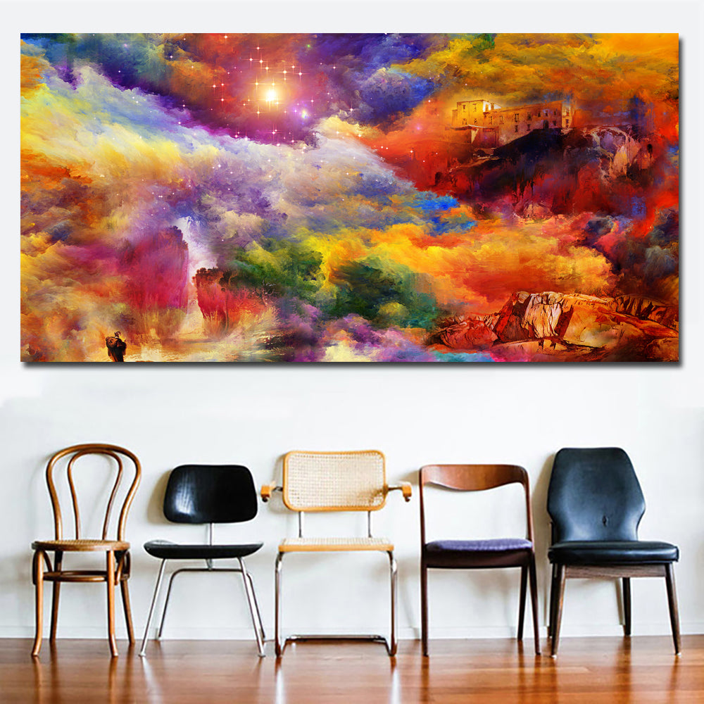 Abstract Paintings Colorful Cloud Sky Scenery Paintings Wall Art Prints Printing Posters Picture For Living Room Home Decor