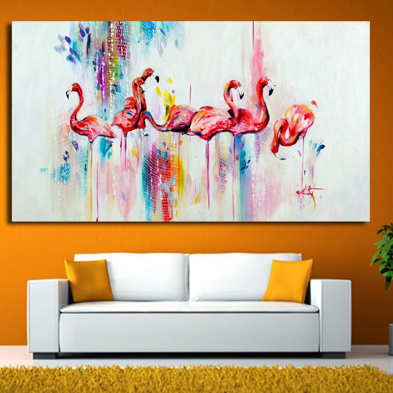 Abstract printed Oil Painting on Canvas watercolor red Flamingo ...