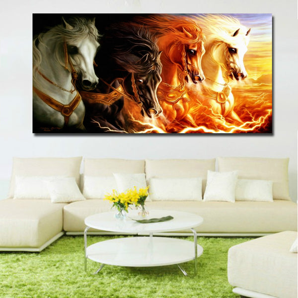 Animal Art Painting Four Colors Horse Fast Running Huge Canvas Painting Wall Art Prints For Living Room Home Decor Prints Poster
