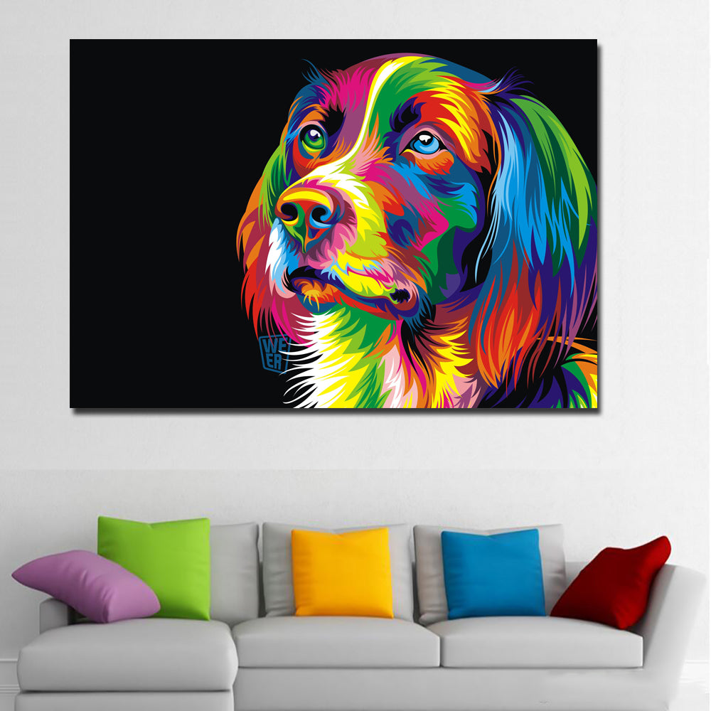 Animal Dog Canvas Printed Painting Modern Funny Thinking Dog Colorful Animal Painting Wall Art For Living Room Decor