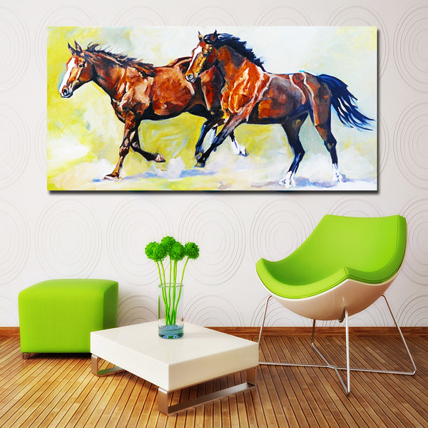 Animal Two Running colorful Horse prints canvas painting Wall Art Pictures For Living Room Home Decor Canvas Painting