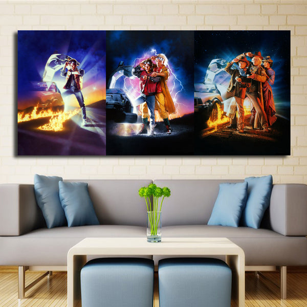 BACK TO THE FUTURE 1,2,3 CAR Movies Arts Canvas Print Giclee Wall Poster Wall Painting For Living Room And Home Decoration
