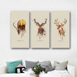 Big Triptych Watercolor Vintage Deer Posters Print Abstract Animal Picture Canvas Painting No Frames Living Room Home Decor
