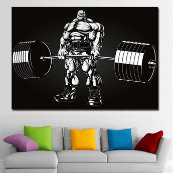Black And White Abstract Art Bodybuilding Barbell Picture Poster Print Canvas Art Painting Wall Art Pictures for Living Room