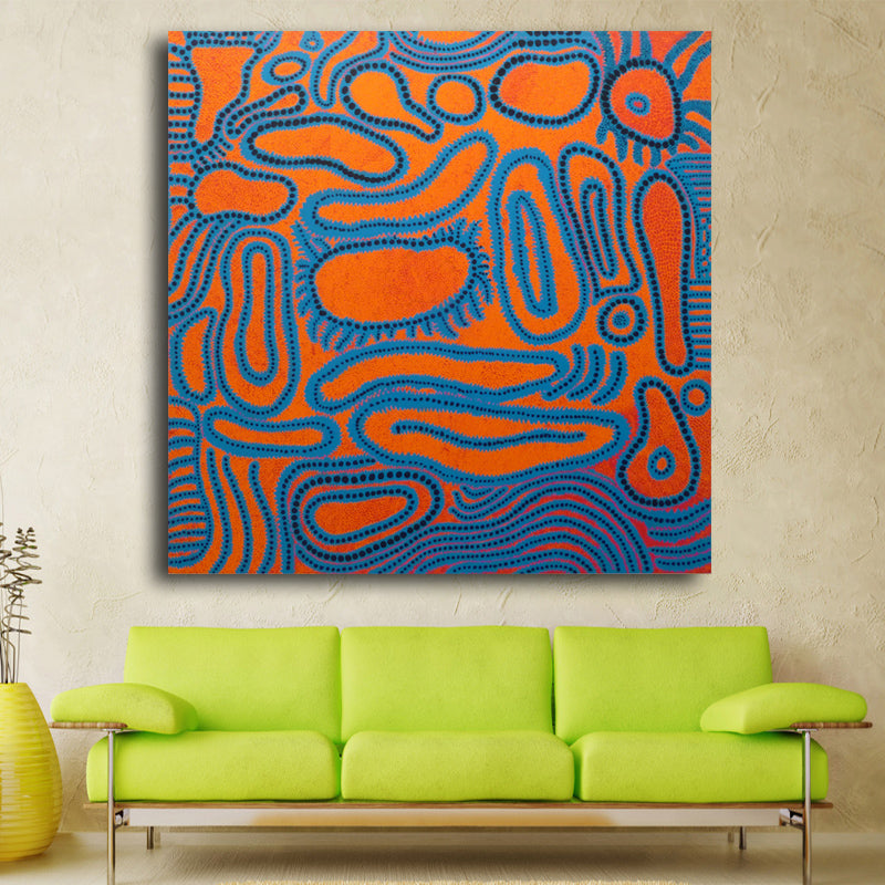 blue circle abstract picture of wall painting home decorative art