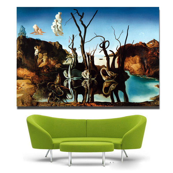 Canvas Art Salvador Dali Painting Swans Reflecting Elephants Wall Pictures For Living Room Home Decor Printed free shipping