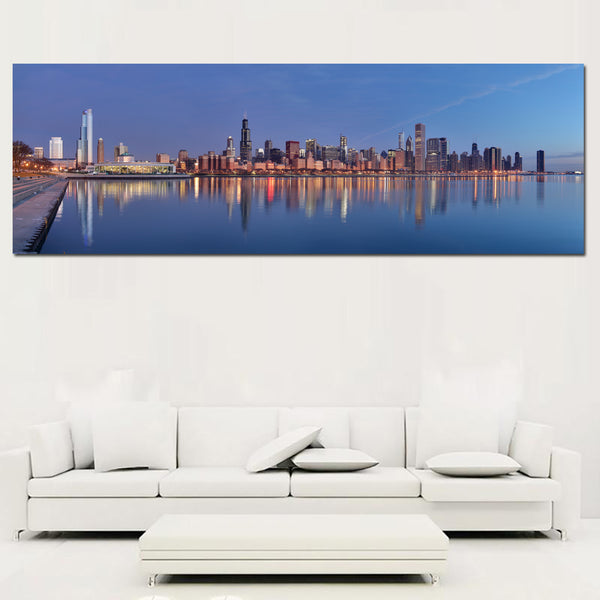 Canvas Painting Art Prints Modern Wall Pictures Of Chicago River,Blue Sky ,Buildings Lanscape Painting For Living Room No Frame