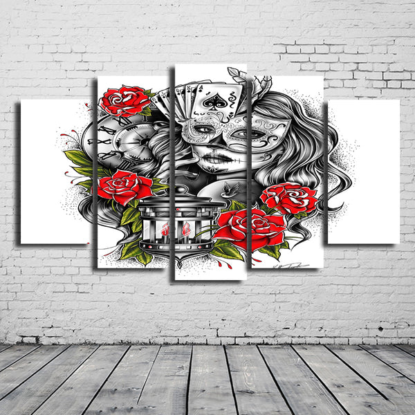 Canvas Painting New 5 Pieces/sets Canvas Art Thomas Carli Jarlier Canvas Wall Art Painting Decoration For Home beauty girl poker
