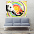 Cartoon Elephant With Flowers Poster Print Abstract Art Rainbow Picture Wall Art Print For Living Room Home Decor