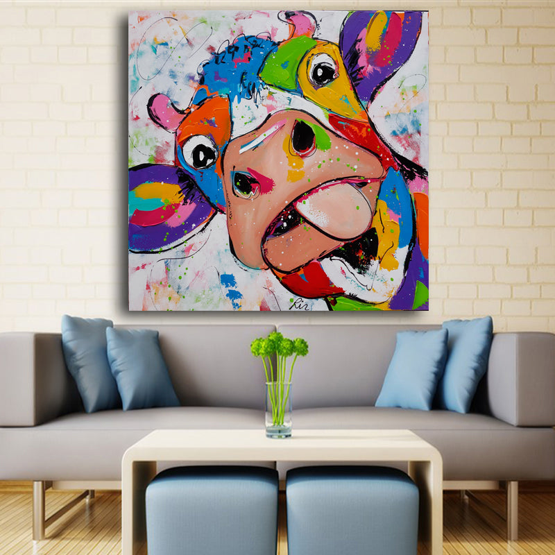 Cartoon Painted Large Printed Canvas Paintings Cow Oil Paintings Moder Discount Canvas Print