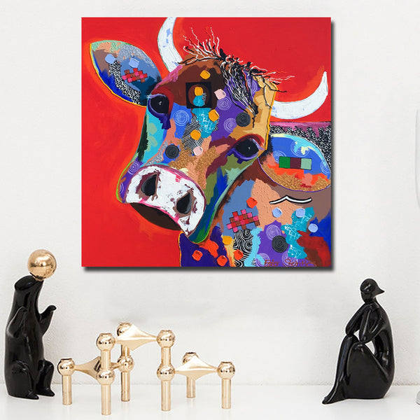 Cartoon Painted Large size printed Canvas Paintings red Cow Oil Paintings Modern Decoration Wall Art Living Room Decor Pictures