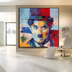 Charlie Chaplin Hat Bearded Pictures Abstract Colorful Portrait Oil  Painting Art Prins Wall Home Art Decor Painting