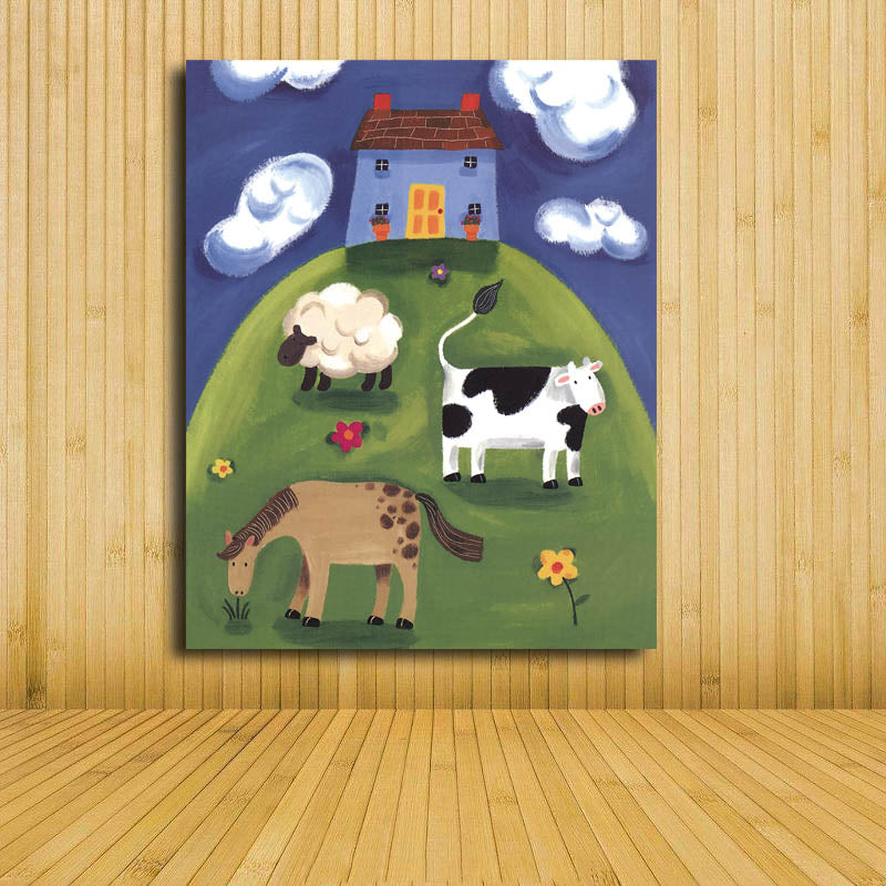 Children Baby Bedroom Wall Decoration Cute Animal Cartoon Canvas Painting Art Print Poster Picture Paintings Unframed
