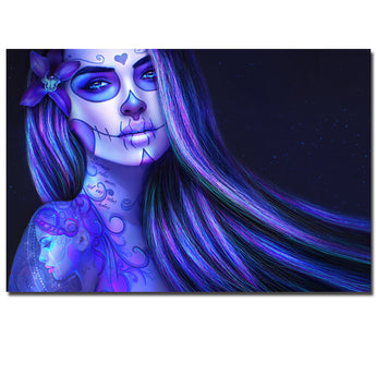 Colorful Girl Canvas Art Painting Day of the Dead Face Wall Art Picture Movie Poster Artwork for Living Room Decor