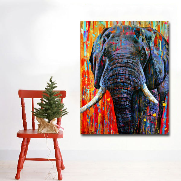 Drop Shipping Wall Art Prints Animal Colors Elephant Painting Printed On Canvas Art Print Posters For Living Room Home Decor