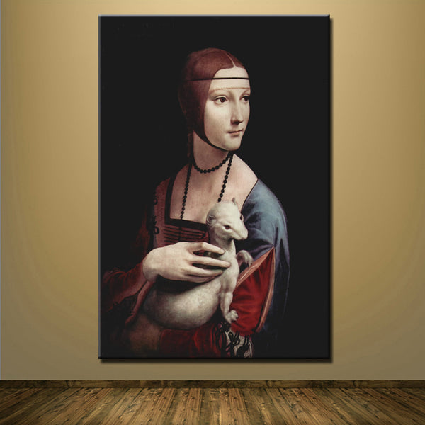 Embraced girl By Leonardo Art oil painting da Vinci hold Weasel Lady home wall living room canvas printing Home Decoration