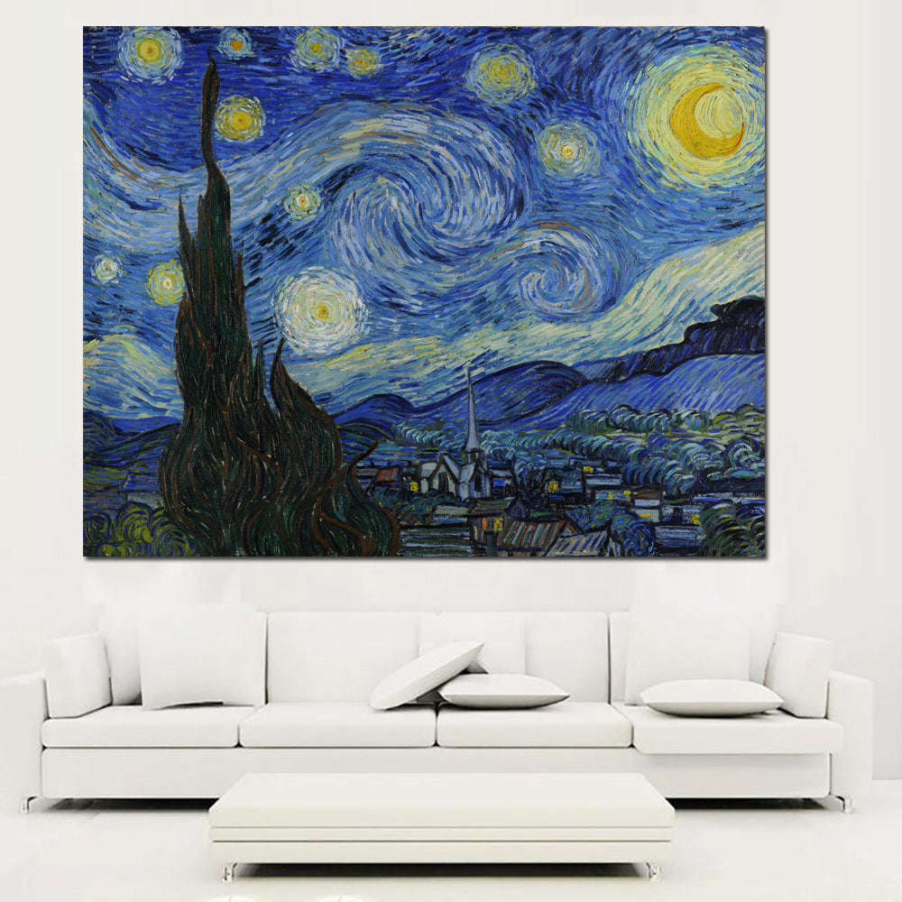 Famous Starry Night Print Painting On Canvas By Vincent Van Gogh Abstract Art Home Decoration Poster Reputation Oil Painting